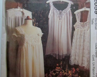 McCalls 2059 Womens Lingerie Nightgown Robe Baby Doll Sewing Pattern by Alicyn Bust 30 1/2