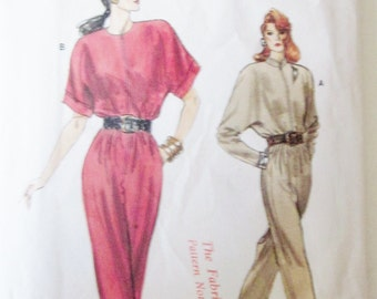 Vogue 7136 Misses' 80s Straight Legged Jumpsuit Sewing Pattern Size 8 Bust 31 1/2