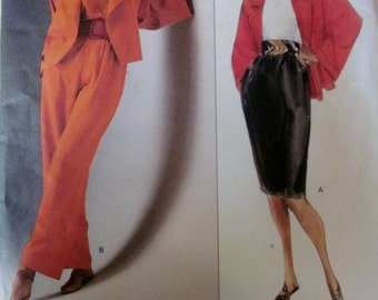 Vogue 2502 Anne Klein Womens 90s Jacket Skirt Pants Sewing Pattern Bust 34 to 38