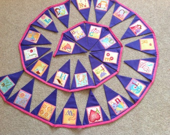Alphabet Bunting Banner Girl ABC Purple 26 Large Flags over 13ft Long