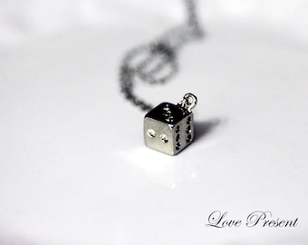 Dies Dices Silver Adjustable Necklace - Fun and Chic - Birthday Gift. Friendship Ship for you and your friends