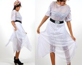 Vintage White Sheer Dress / Womens Long Sheer Midi Dress / Butterfly hem dress / S / Small