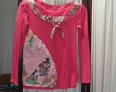 Reconstructed Recycled EcoFriendly Girls' LS Top  Sz L Cool Pink with Light Pink Multi from Asian Oriental Indian Kimono