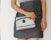 vintage women George canvas monogram leather MINI satchel shoulder cross body handbag purse