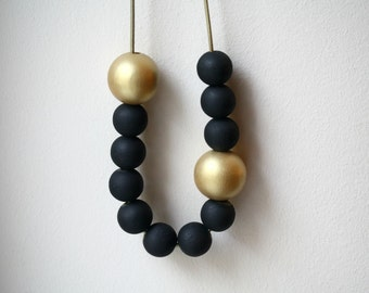 Black Tie Affair Statement Necklace / Hand Painted Wooden Beads / Black and Gold with Leather / Adjustable Length