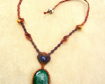 Malachite Necklace in Rust and Wine Fiber Micro Macrame Knot Work with Lapis Lazuli Stone
