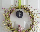 Spring CHALKBOARD BERRY BIRD wreath -- Personalize with Monogram or Word -- purple green yellow door decor gift Summer Easter Wedding