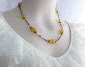 Chalcedony Necklace,  Stone Necklace, Golden Chalcedony, Yellow Chalcedony, Stone Jewelry