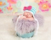 Stripe Big Bow Beanie in Teal, White and Hot Pink Available in Newborn to 5 Year Size- MADE TO ORDER
