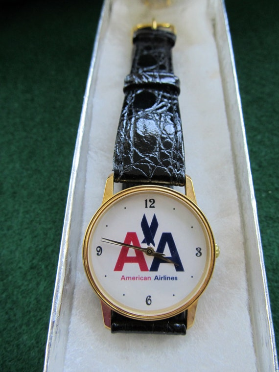 american airlines quartz wrist watch by jeaniesplace on etsy