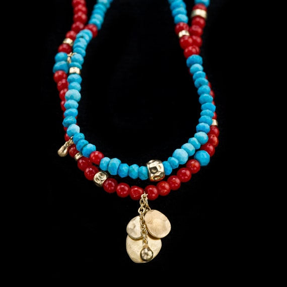 December Birthstone Turquoise Necklace Coral Necklace