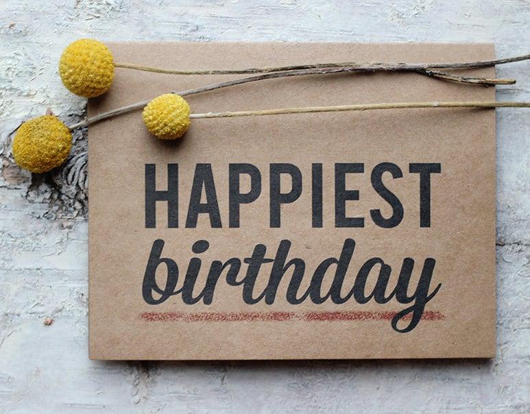 Happiest Birthday Card Typographic Modern Happy Birthday Modern Happy Birthday Wishes