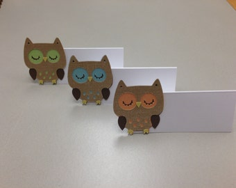 TREETOP OWL Tent Card or Food Label set of 3