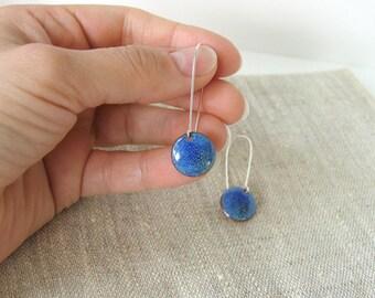 Enamel earrings - blue dangle earrings - aqua navy round dots - artisan jewelry by Alery
