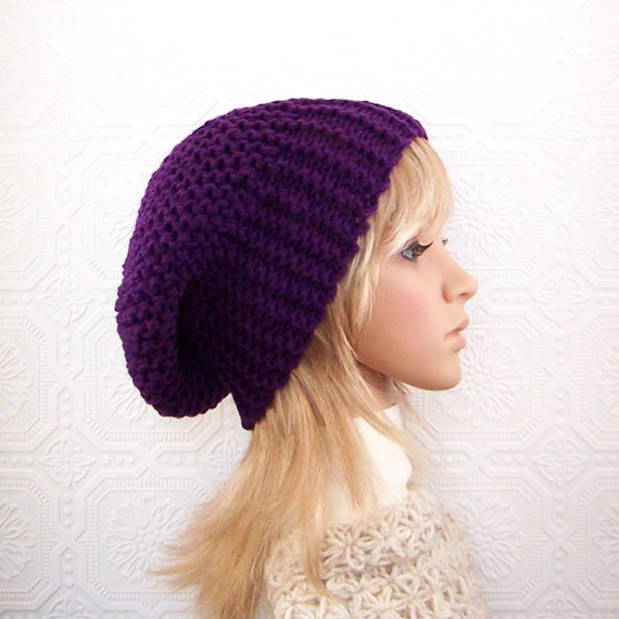 Hand knit slouch hat - purple, eggplant - women's accessories handmade by Sandy Coastal Designs - ready to ship