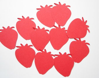 50 Red Strawberry punch die cut confetti scrapbook embellishments - No779