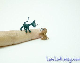 2/3 inch miniature ugly black cat - Micro amigurumi crochet animal