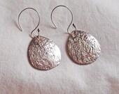 Fine Silver Coated Copper Teardrop Earrings Handmade B