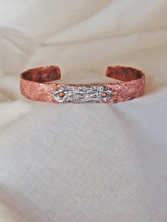 Stone Textured Handmade Copper and Silver Bracelet A for Him