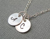 Two initial necklace,custom necklace,hand stamped,initial charm necklace,letter necklace,personalized jewelry,mothers necklace friendship