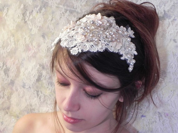 French Lace Wedding Head Piece, Rhinestone and Pearl Twining Vines, Bridal Headband, Juliet Bridal Cap