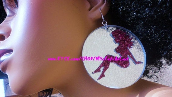 CLEARANCE Glitter Mirror Laser Cut  Acrylic Disc Earrings - GLITTER GALS (Hot Pink Glitter, Silver Mirror Mudflap Girl)