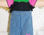 Heart embroidered jeans for 10 in Waldorf Inspired doll
