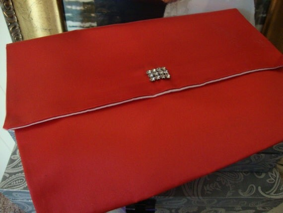 Vintage Red Satin Christian Dior Lingerie Bag Pink Lining Rhinestone Accent Travel Bag Pouch Clutch Style Red Bag 120
