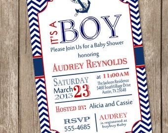 Chevron nautical baby shower invitation, red, blue, anchor, nautical, printable invitation nautical1