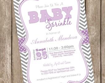 Sprinkle baby shower invitation, purple, grey, chevron, sprinkle, printable invitation