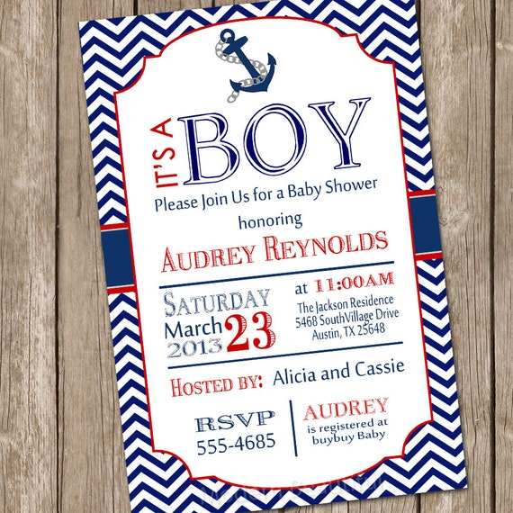 chevron nautical baby shower invitation red blue anchor, Baby shower invitations