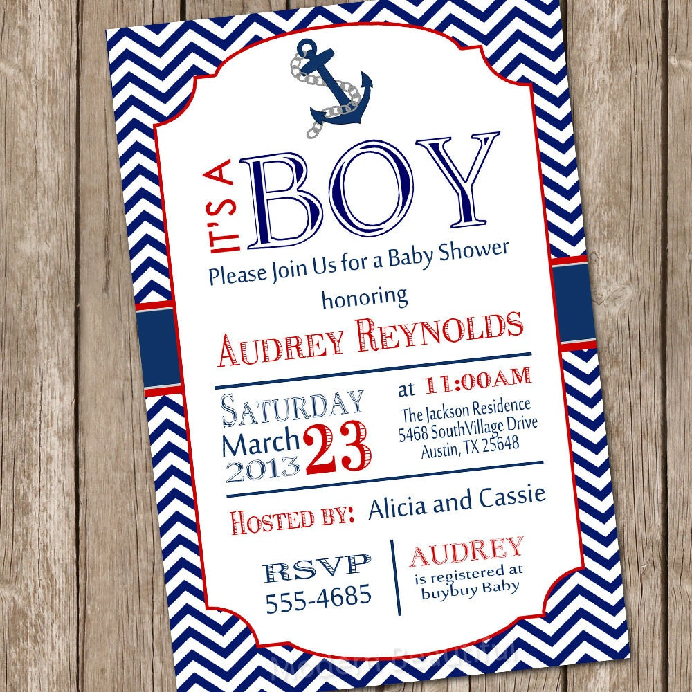 Nautical Baby Shower Invitations Etsy for adorable invitations ideas