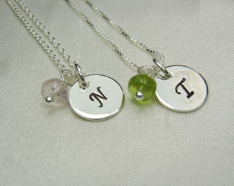 Bridesmaid Gift Set of 8 Bridesmaid Jewelry Birthstone Initial Necklace Silver Monogram Bridesmaid Necklace Personalized Jewelry Gifts