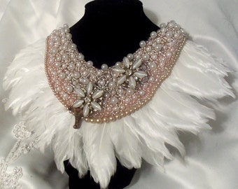 Beaded Feather Collar, Elegant Bridal Necklace, Peach n Pearl Haute Couture Neck Piece, vintage flowers with wispy white feathers.