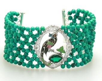 Hand Woven Art Deco Enamel Bird Bracelet with Turquoise Beads