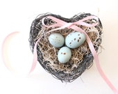 Spring Decor Bird Nest with Eggs / Shabby Chic Decor . wire heart nest ring pillow . robin egg blue