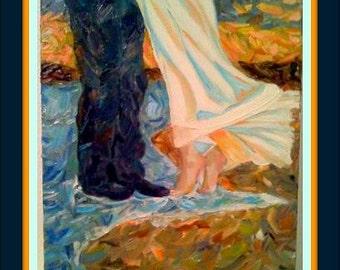 "BEACH EMBRACE -  Original Oil 16""X12"" (love, romance, couple, beach, together) signed by DanaC"