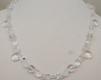 Quartz Crystal Necklace with Sterling Silver Clasp