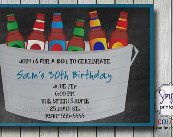 Beer Birthday Invitation BBQ