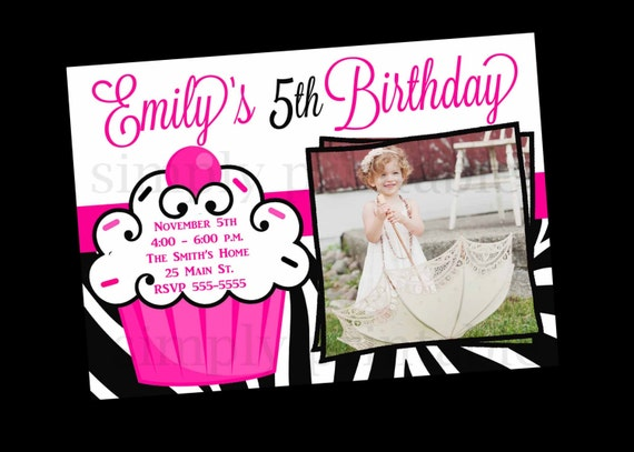Zebra Stripe Cupcake Birthday Invitation with Photo