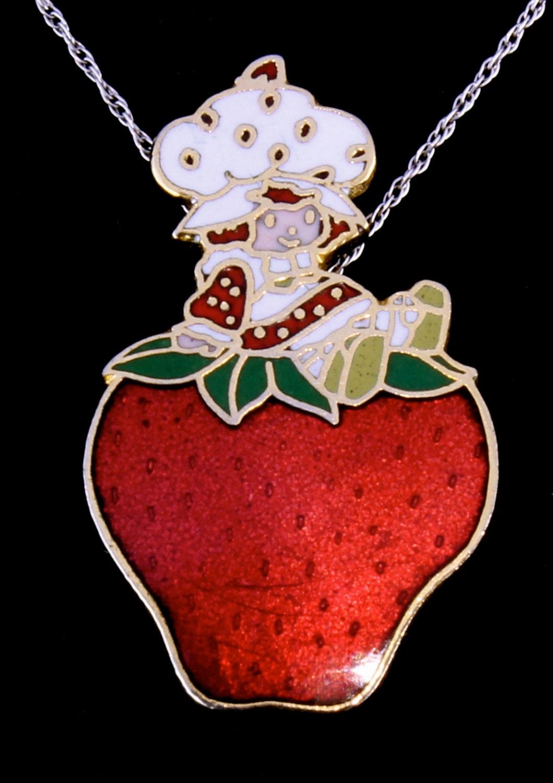 Vintage 1980s strawberry shortcake enamel pin pendant for Strawberry shortcake necklace jewelry