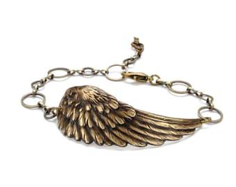 Steam Punk Bracelet  Wing Bracelet Steampunk Flight Antique Brass Angel Wing Bracelet Bird Steampunk Jewelry By Victorian Curiosities
