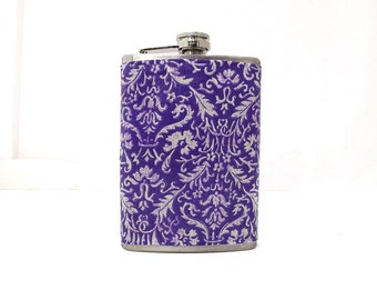 Purple Flask, Floral Design, Liquor Hip Flask, Wedding Favor, Womens Flask, Bridesmaids Gift