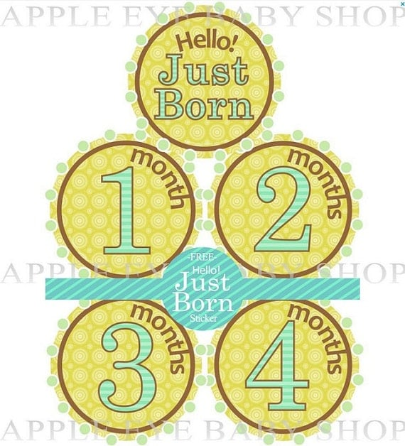 Baby Monthly Stickers - CUTE as a BUTTON (Neutral Colors.Yellow.Brown.Turquoise) Create great memories