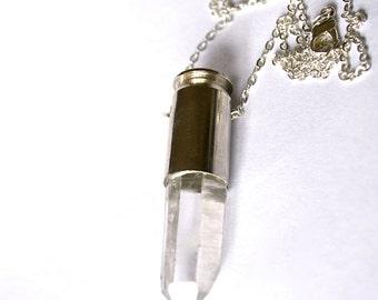 ORIEL silver clear quartz crystal bullet necklace