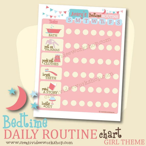 Printable Custom DAILY Bedtime Routine Chart - Girl Theme