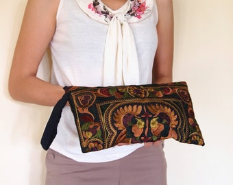 Hmong Wristlet Clutch Old Vintage Style. Ethnic Embroidered Thai Boho Small Purse Bag