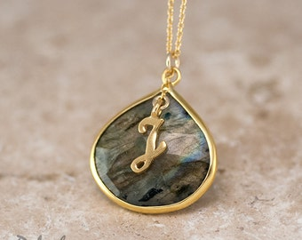 Personalized Necklace - Labradorite Necklace - Script Letter - Monogram Necklace - Gold Necklace - Personalized Jewelry