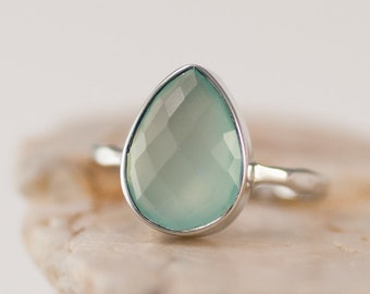 Aqua Blue Chalcedony Ring Silver - Stackable Ring - Sea Foam Green Ring - Tear Drop Ring - Solitaire Ring