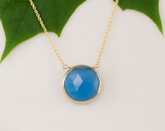 Blue Chalcedony Necklace - Layering Necklace - bezel set necklace - gemstone necklace - Gold necklace - Something Blue